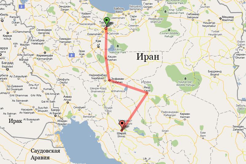 Карта наших перемещений по Ирану